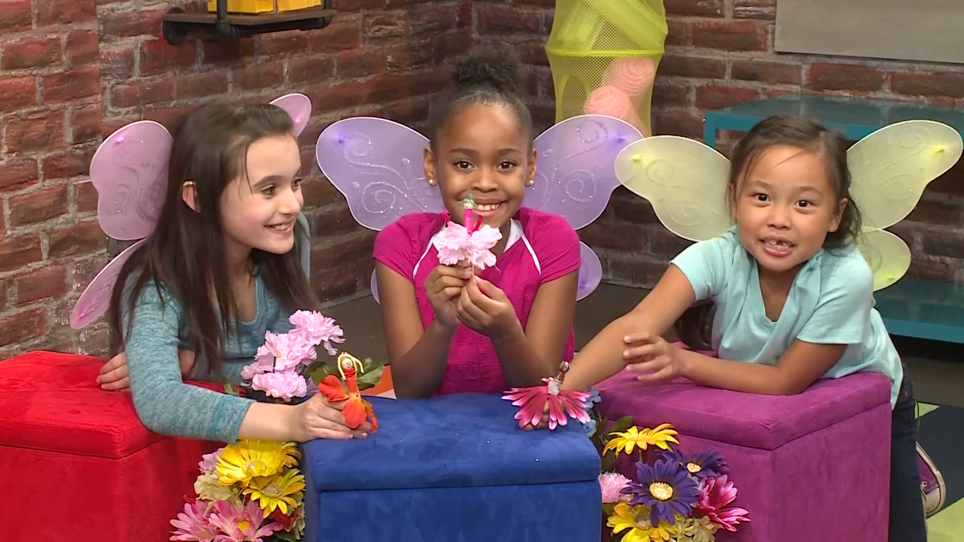 How To Make Flower Fairies -three girls hold their fairies