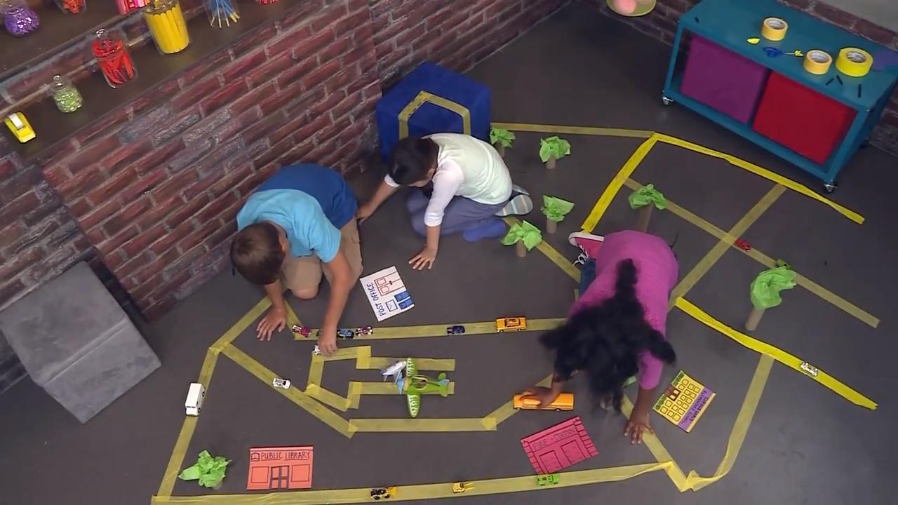 Children create a toy city